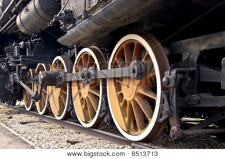 Old locomotive wheels