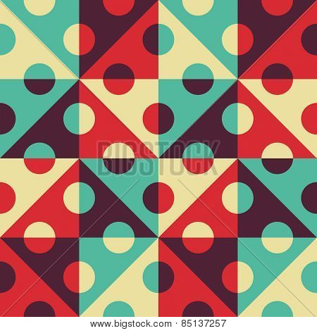 Seamless Square, Triangle and Circle Pattern. Abstract Blue and Red Background. Vector Regular Texture