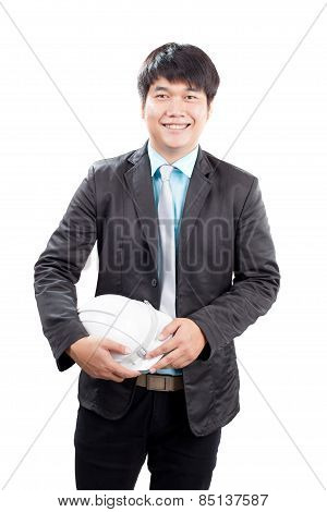 Young Asian Engineering Man Standing And Holding Safety Helmet Isolated White Background