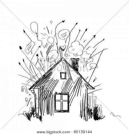 Background image with hand drawn house on white