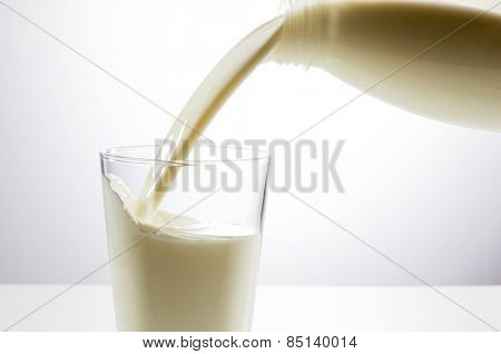 Pouring a glass of milk from bottle creating splash