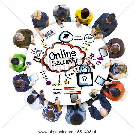 People Social Networking and Online Security Concept