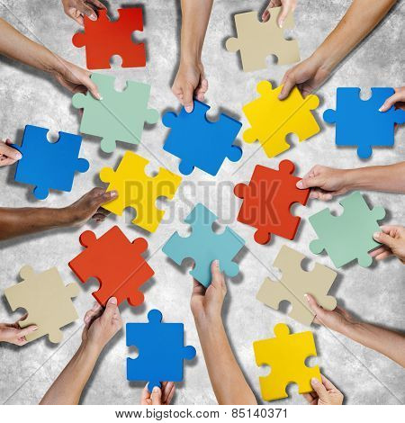 Corporate Connection Togetherness Map Jigsaw Puzzle Concept