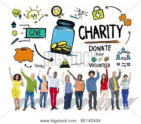 People Celebration Give Help Donate Charity Concept