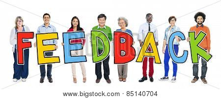 Group of People Standing Holding Feedback Letter Concept
