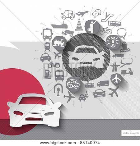 Hand drawn car icons with icons background