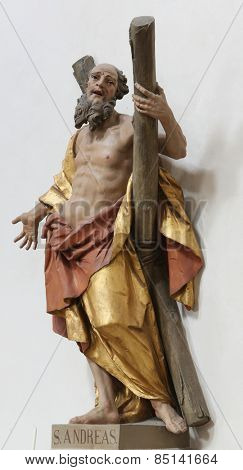 ELLWANGEN, GERMANY - MAY 07: Saint Andrew the Apostle, Basilica of St. Vitus in Ellwangen, Germany on May 07, 2014.