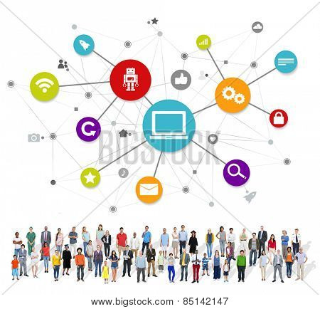 Large Group of Multiethnic People with Social Media Symbols Concept
