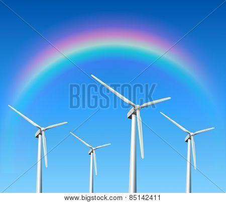Wind turbines, rainbow over blue sky, vector background.
