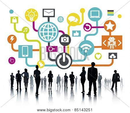 Global Communications Social Networking Business People Online Concept