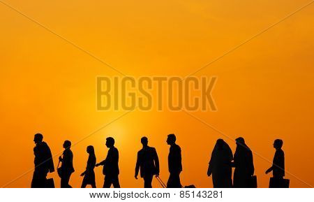 Business People Traveller Walking Rush Hour Concept