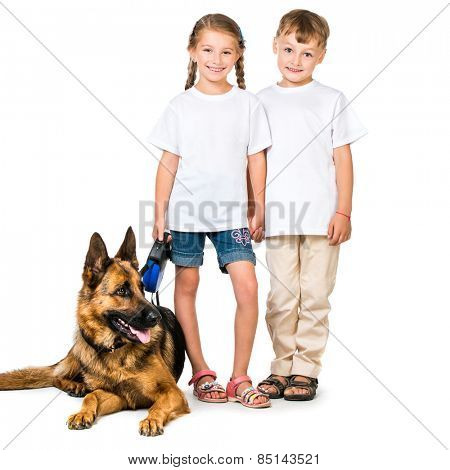 happy kids in white t-shirts with shepherd dog