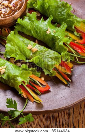 Lettuce wraps with  peanut dipping sauce