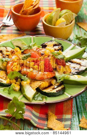 Mexican Grilled Shrimp Salad with avocado,watermelon,zucchini