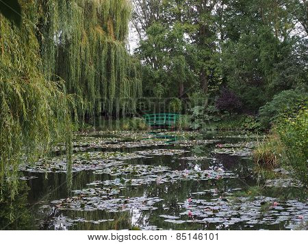 Water Lilies and a Foot Bridge at Monet's Gardens in Giverny, France