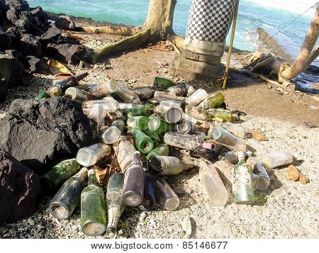 Bottles After A Party At The Beach In Candi Dasa