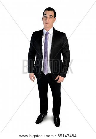 Isolated business man looking surprised