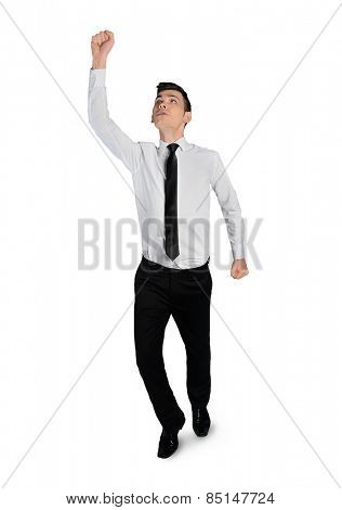 Isolated business man winner hand up