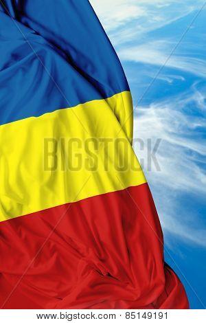 Romanian waving flag on a beautiful day