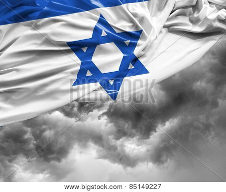 Israeli waving flag on a bad day