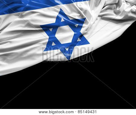 Israeli waving flag on black background