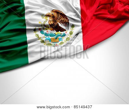 Mexican waving flag on white background