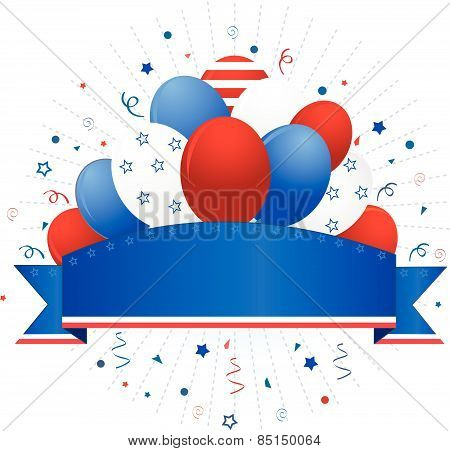 USA patriotic banner with balloons