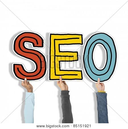 Multiethnic Group of Hands Holding Letter SEO Concept