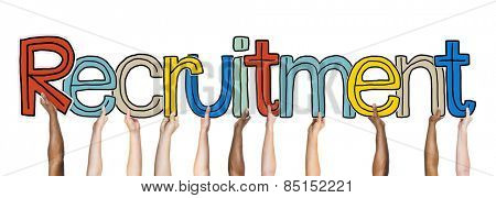 Group of Diverse People's Hands Holding Recruitment Concept