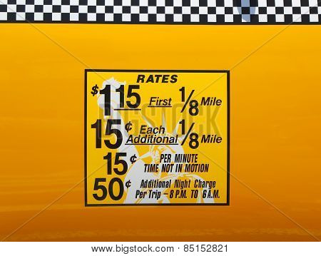 New York City taxi rates decal. This rate was in effect from May 1987 till January 1990