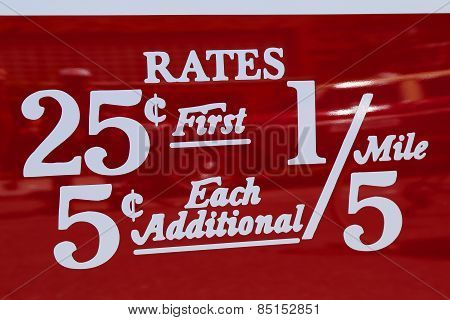 New York City taxi rates decal. This rate was in effect from July 1952 till December 1964