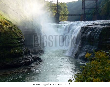 Waterfall and Mist at Letchworth State Park, New York
