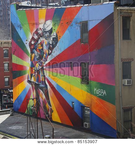 Mural art by Brazilian Mural Artist Eduardo Kobra in Chelsea neighborhood in Manhattan.