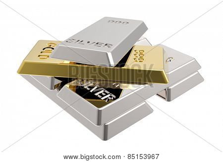 Silver and gold bars. Computer generated 3D photo rendering.