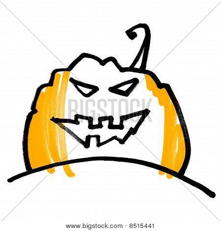 Expressive Concise Picture Pumpkin Head. Halloween Symbol