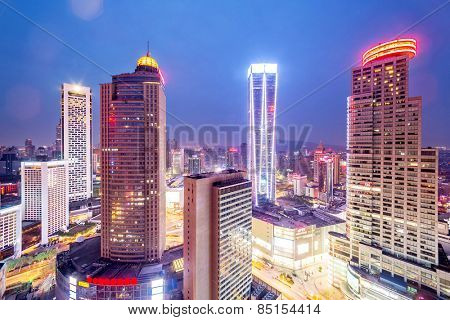 skyline,office buildings and cityscape at night