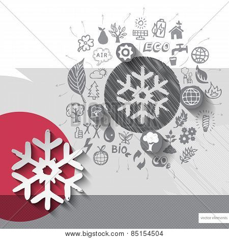 Hand drawn snowflake icons with icons background