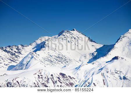 Beautiful peak view Caucasus mountains in winter