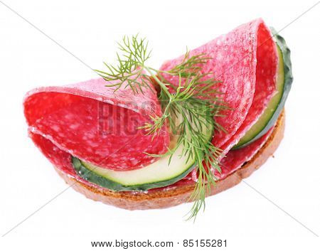 Sandwich with salami and cucumber isolated on white