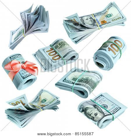 Collection of bundles of US dollars isolated over the white background
