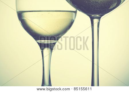 Two glasses of wine. Retro style filtred image