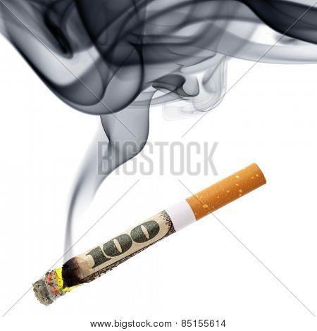 Costs of smoking - cigarette stub with smoke isolated over the white background