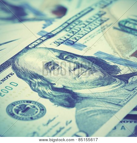 US dollars close-up. Retro style filtred image. Shallow DOF!