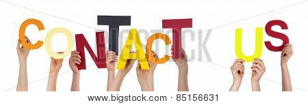 People Hands Holding Colorful Word Contact Us