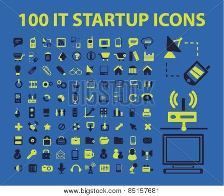100 internet technology startup, growth, strategy, business icons, signs, illustrations concept design set, vector