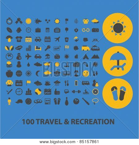 100 travel, recreation, tourism icons, signs, illustrations concept design set, vector