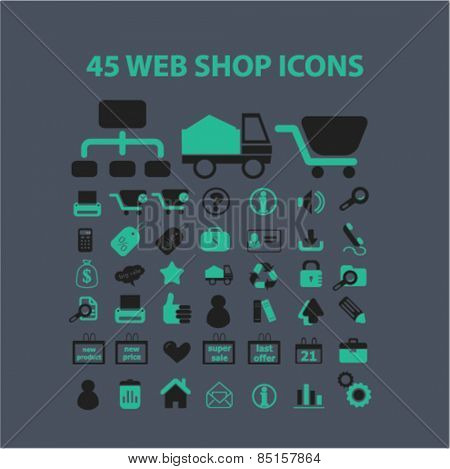 45 web shop, retail, commerce, marketing, sales icons, signs, illustrations concept design set, vector