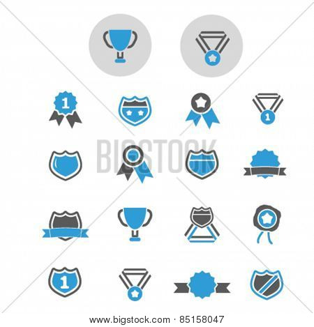 award, victory, trophy, winner icons, signs, illustrations concept design set, vector