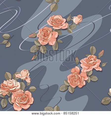 Seamless dark blue pattern with roses. Vector illustration.