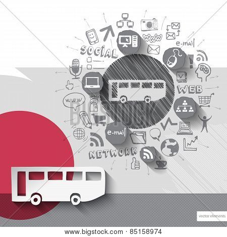 Hand drawn bus icons with icons background
